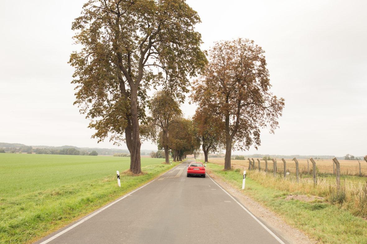 Der rote Audi von Schulz fährt eine Landstraße entlang. Weit und breit nur Wiese und Wald.