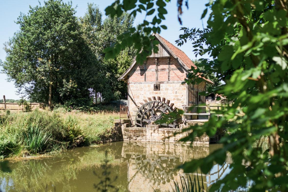 Eine alte Mühle mit Mühlrad an einem Weiher.
