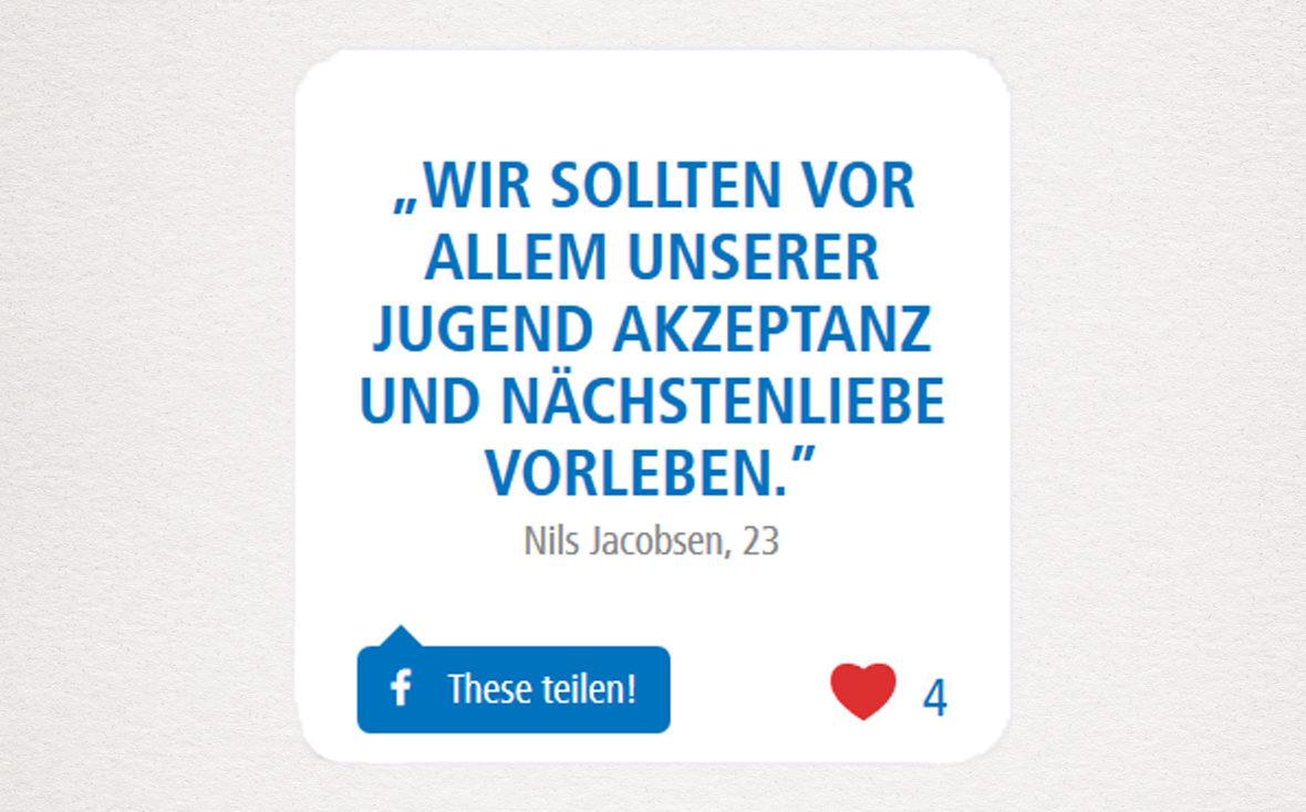 """Nils' These: """"Wir sollten vor allem unserer Jugend Akzeptanz und Nächstenliebe vorleben."""""""
