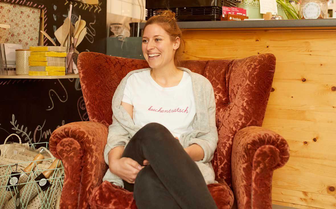 Zu Besuch bei Kuchentratsch: Theresa beim Interview