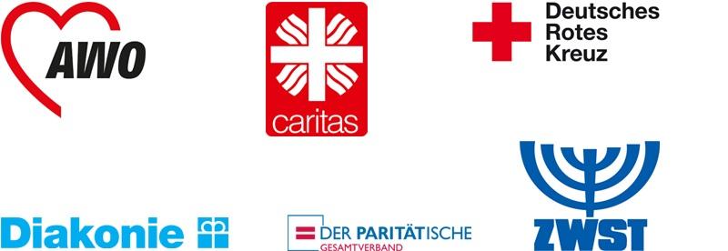 Die Logos der Spitzenverbände der Freien Wohlfahrtspflege.