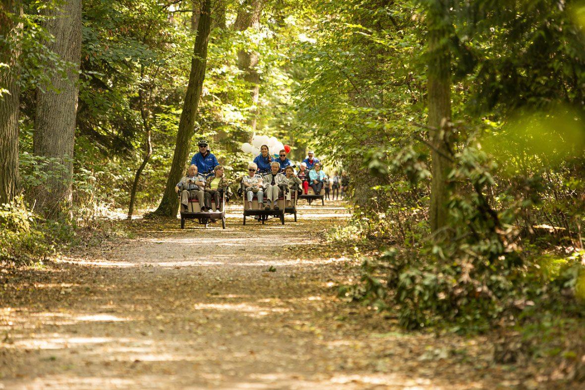 Auf einem Waldweg kommen in der Ferne vier Fahrradrikschas, geschmückt mit bunten Luftballons, mit je einem Fahrerer/einer Fahrerein und zwei Senioren/Seniorinnen angefahren.