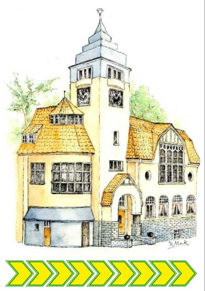 Das Rathaus im Krefelder Stadtteil Fischeln, gezeichnet von Rudolf Menk.