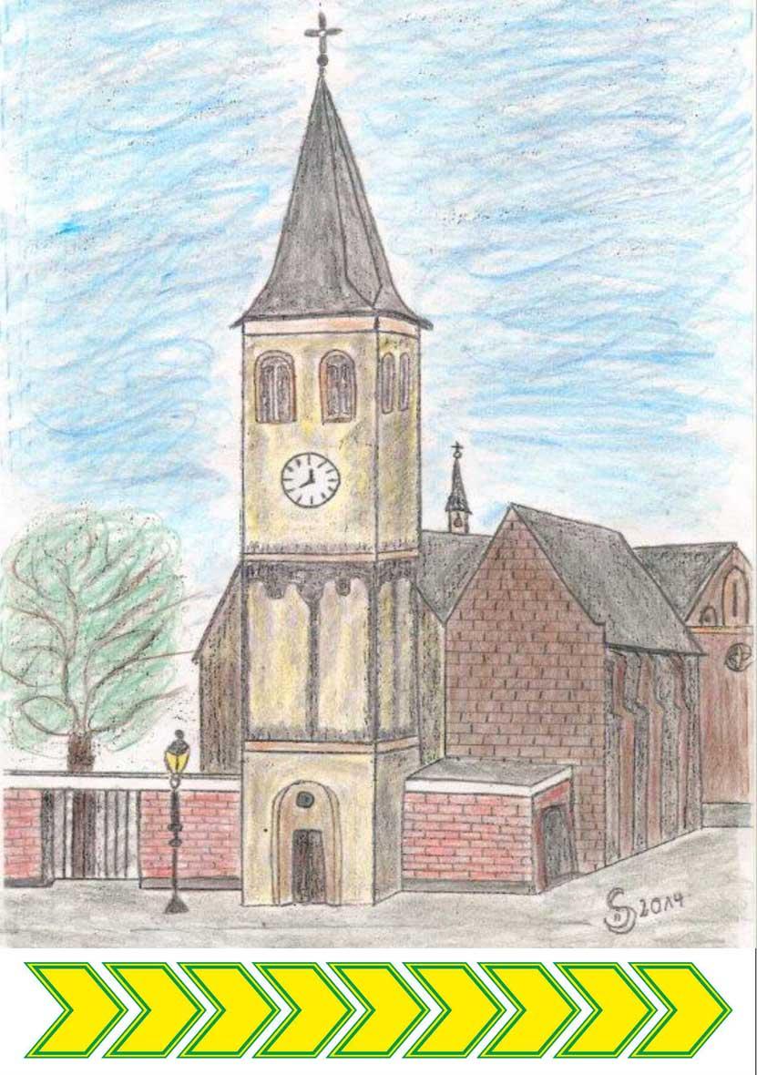 Die Clemenskirche im Krefelder Stadtteil Fischeln, gezeichnet von Sigrid Delmes.