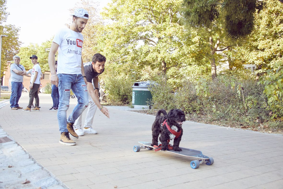 Vereinshund Happy versucht sich auf auf dem Longboard, Ahmed und Eduardo stehen hinter ihm und folgen ihm.