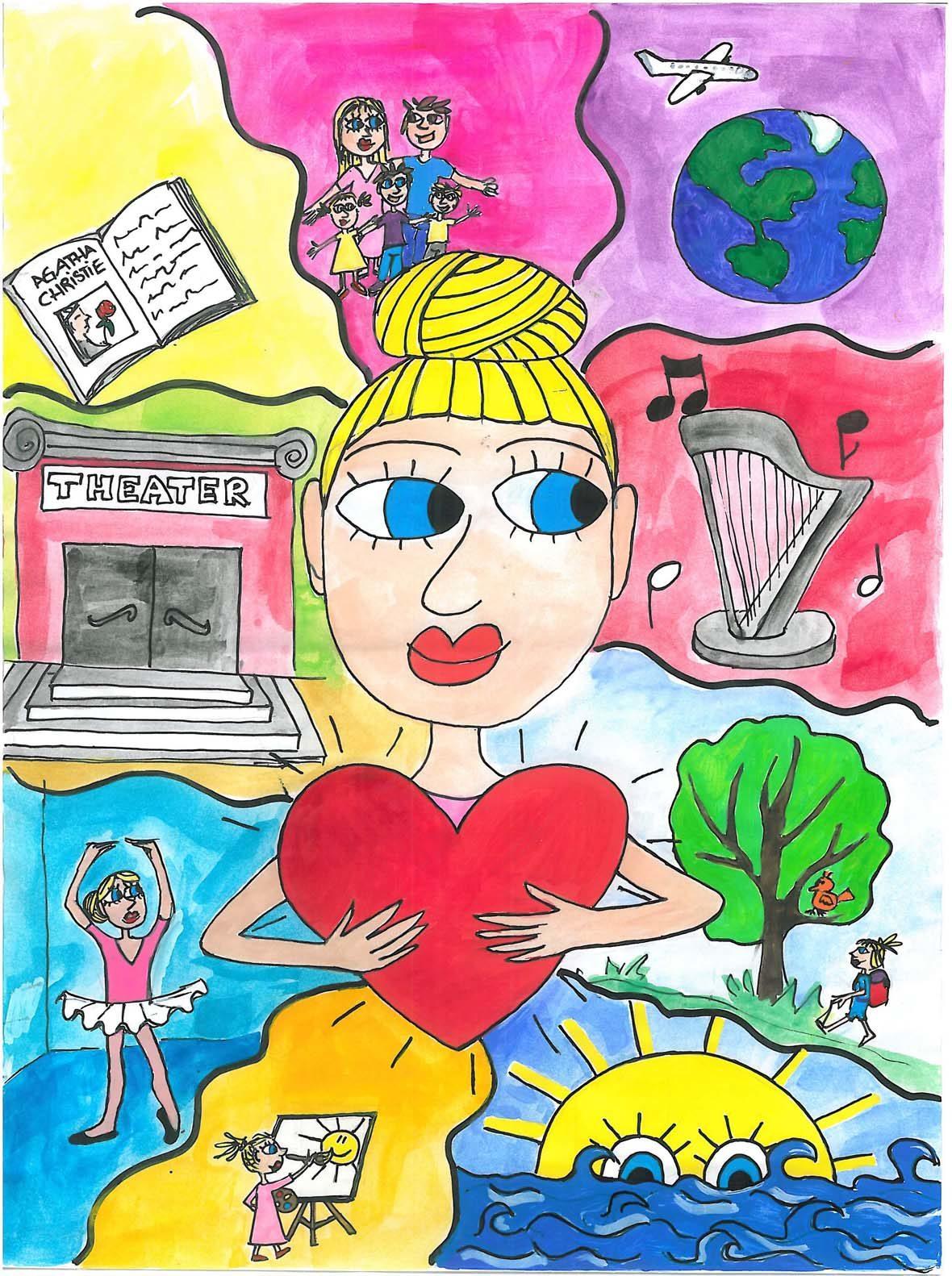 In der Mitte der Zeichnung ist eine blonde Frau mit Dutt, die ein großes Herz in der Hand hält. Man sieht nur ihren Oberkörper. Um sie herum sind verschiedene Szenen: Eine Weltkugel und ein Flugzeug, eine Harfe, um die Noten herumfliegen, ein Baum und die blonde Frau in sehr klein davor, die wandert, eine Sonne, die im blauen Meer versinkt, die blonde Frau, die eine Sonne auf eine Leinwand auf einer Staffelei zeichnet, die Frau im rosa Tütü, der Eingang in ein Theater, ein Buch mit einer Geschichte von Agatha Christie und die Frau mit einem brünetten Mann und drei Kindern: einem blonden Mädchen, einem brünetten Jungen und einem blonden Jungen.