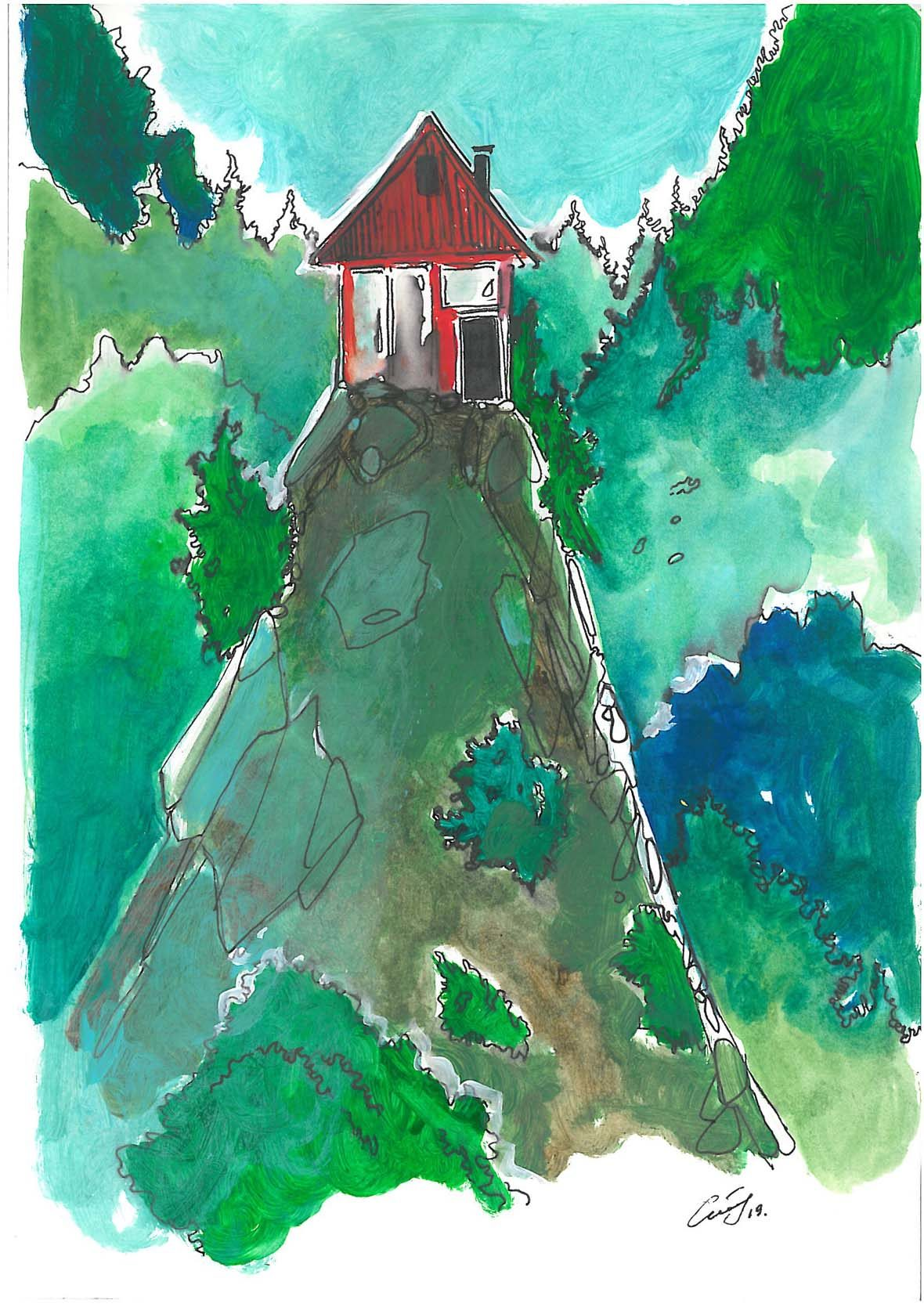Auf der Zeichnung sieht man ein rotes Häuschen auf einem hohen Berg. Ringsherum sind grüne Wälder und Bäume angedeutet.