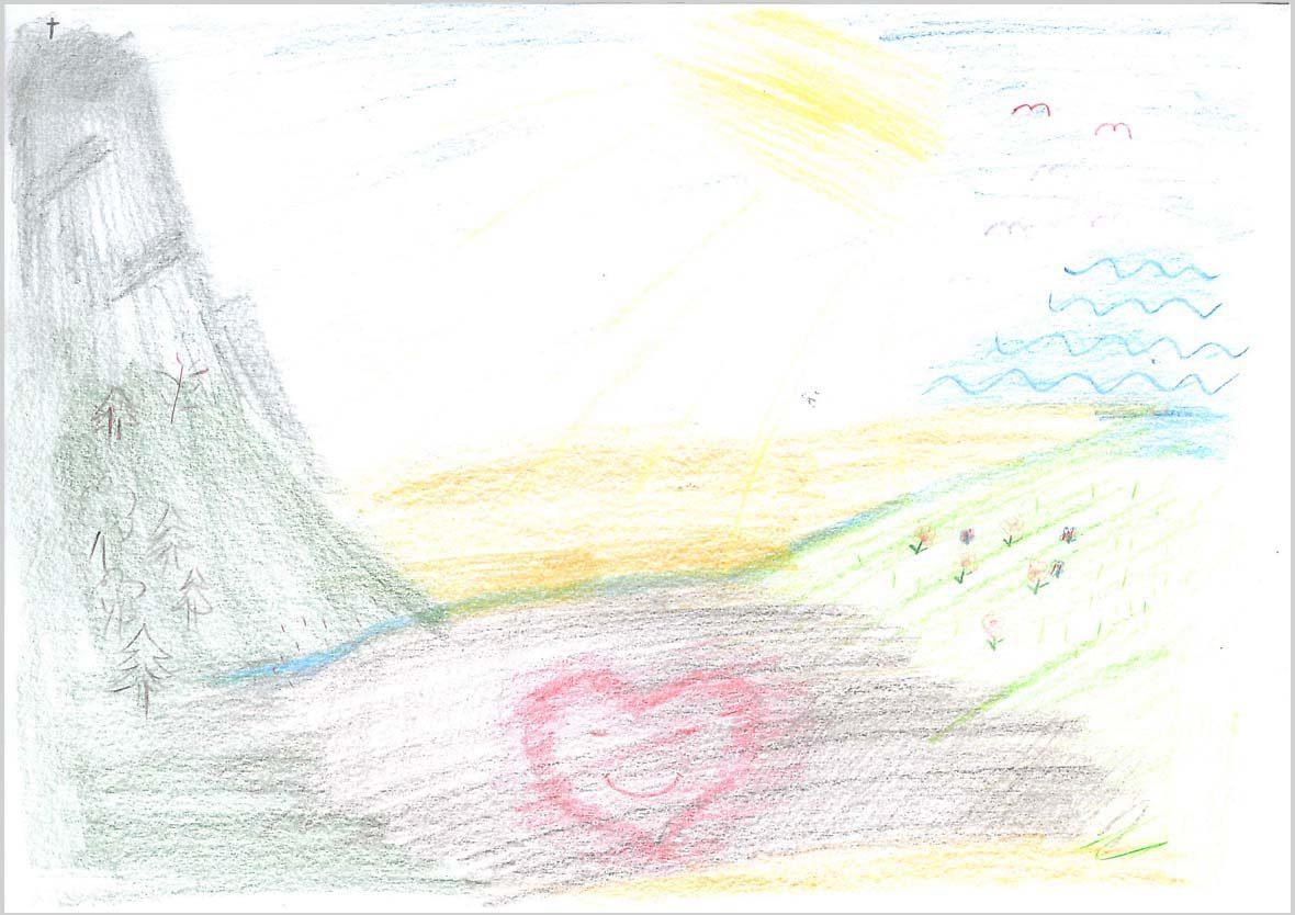 Die Zeichnung ist sehr hell. Links ist ein hoher Berg zu sehen mit Bäumen am Fuß des Berges, in der Mitt eine braune Fläche mit einem lachenden Herz darin, rechts eine grüne Fläche und darüber fliegen ein paar Vögel.