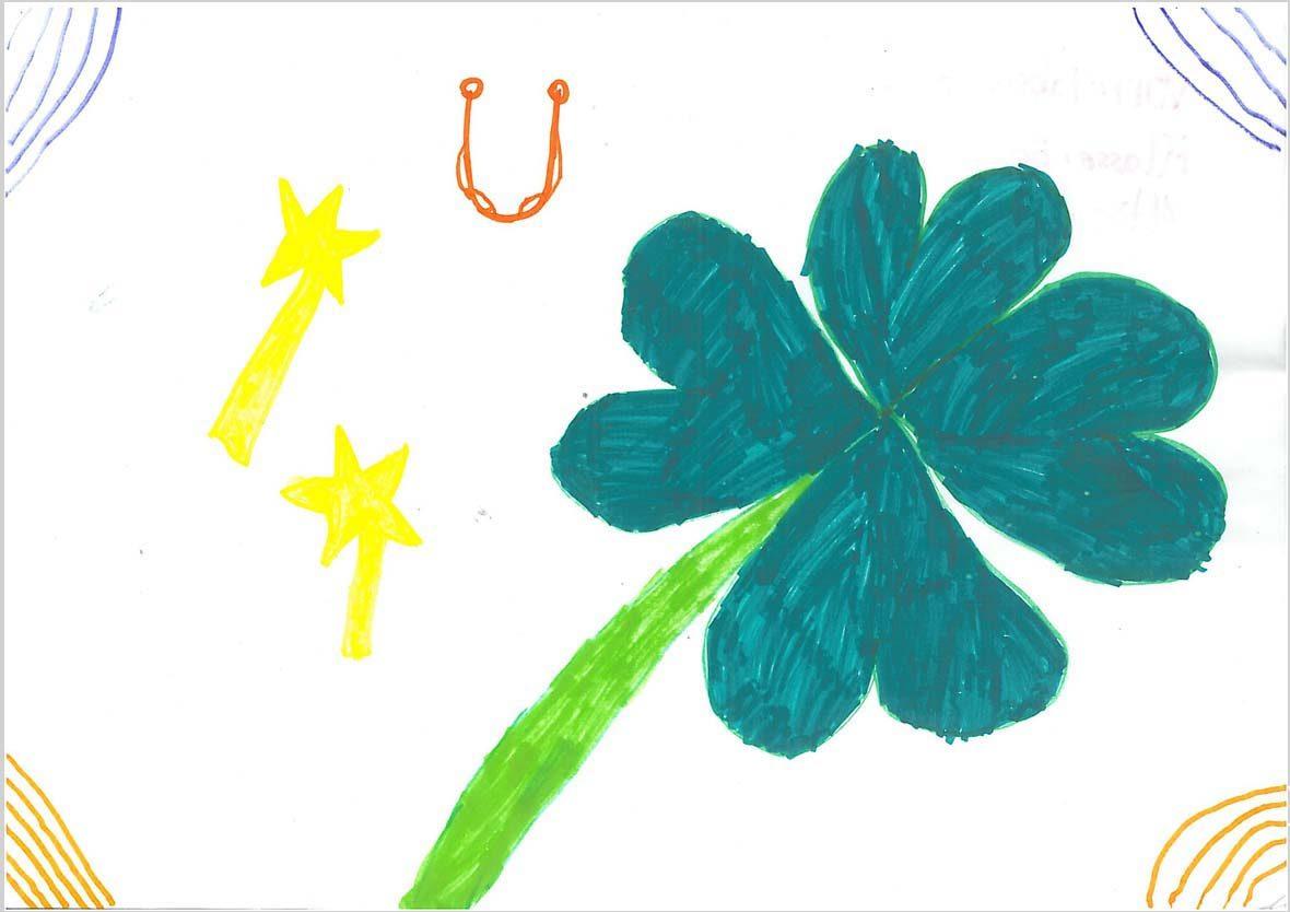 Auf der Zeichnung sieht man zwei gelbe Sterne mit einem Schweif, ein schmales Hufeisen und ein großes, grünes Kleeblatt. Die Ecken des Bildes sind mit blauen (oben) und gelben (unten) Strichen verziert.