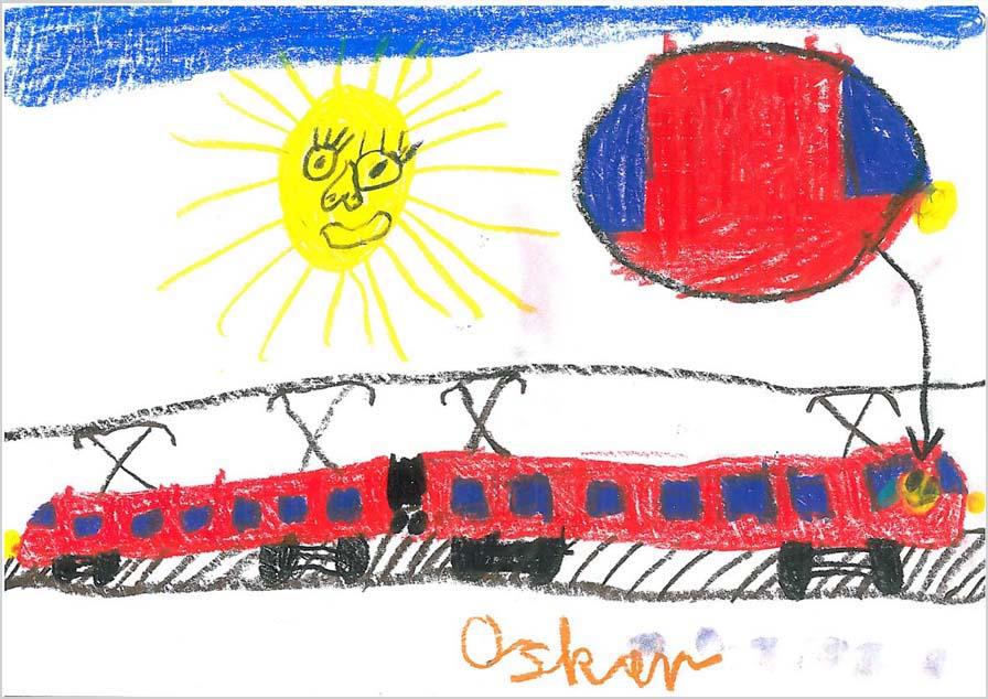 Auf der Zeichnung ist ein roter Zug mit blauen Fenstern zu sehen. Vorn im Zug ist ein gelbes Gesicht. Die Sonne scheint und hat ebenfalls ein Gesicht. Am Himmel ist ein blauer Streifen.