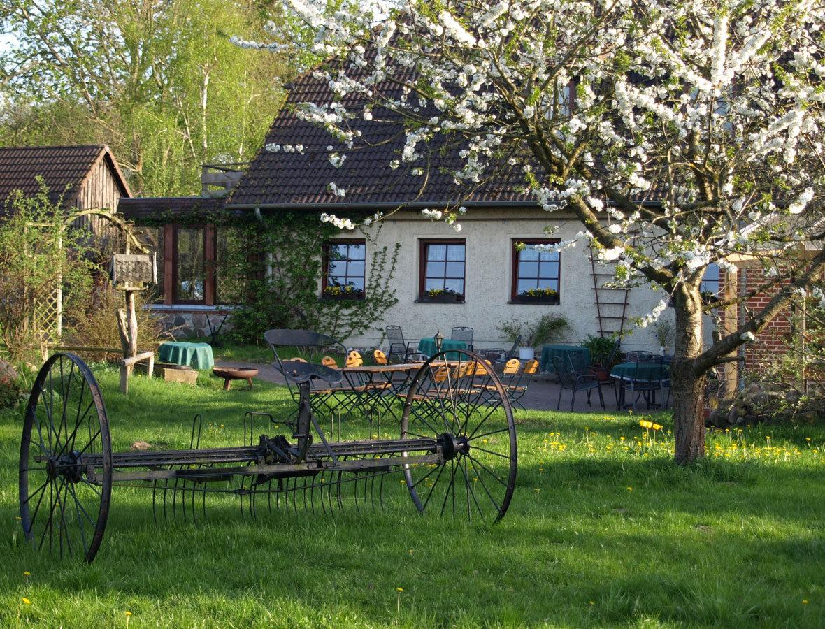 Foto: Eine Außenansicht der Beaumont Farm mit Garten, darin steht ein antikes Bauernhof-Gerät.