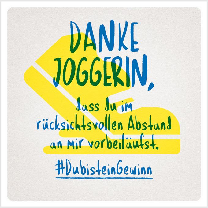 Grafik: Danke Joggerin, dass du im rücksichtsvollen Abstand an mir vorbeiläufst. #DubisteinGewinn