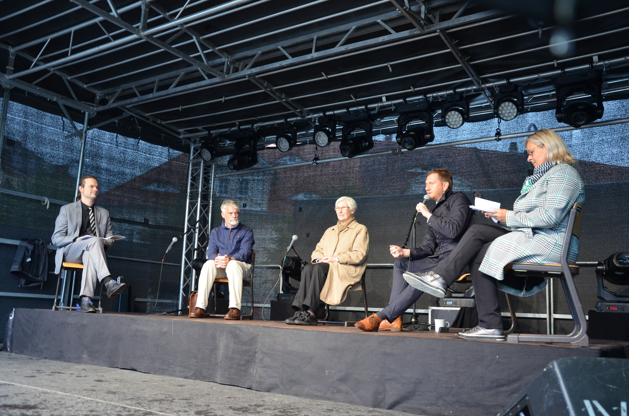 Bei der Podiumsdiskussion diskutierten Christian Kipper, Irmgard Schwaetzer und Michael Kretschmer (v.l.n.r.). Foto: Ostritzer Friedensfest
