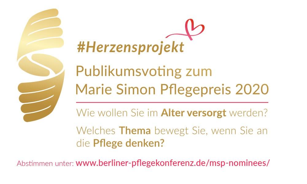 #Herzensprojekt – Publikumsabstimmung zum Marie Simon Pflegepreis 2020